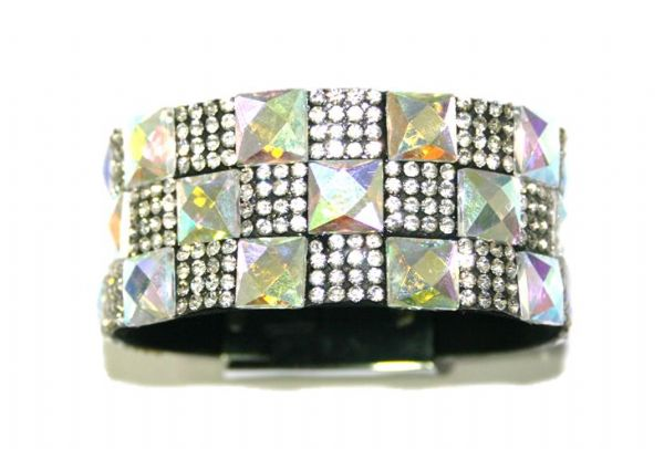 Diamante crystal bling cuff bracelet kit - 10mm faceted clear AB square glass+2mm diamante clear stone -- c4009037kit